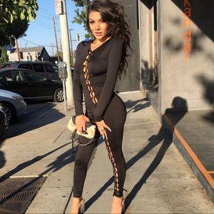 Fashion Nova Black Lace Up Jumpsuit